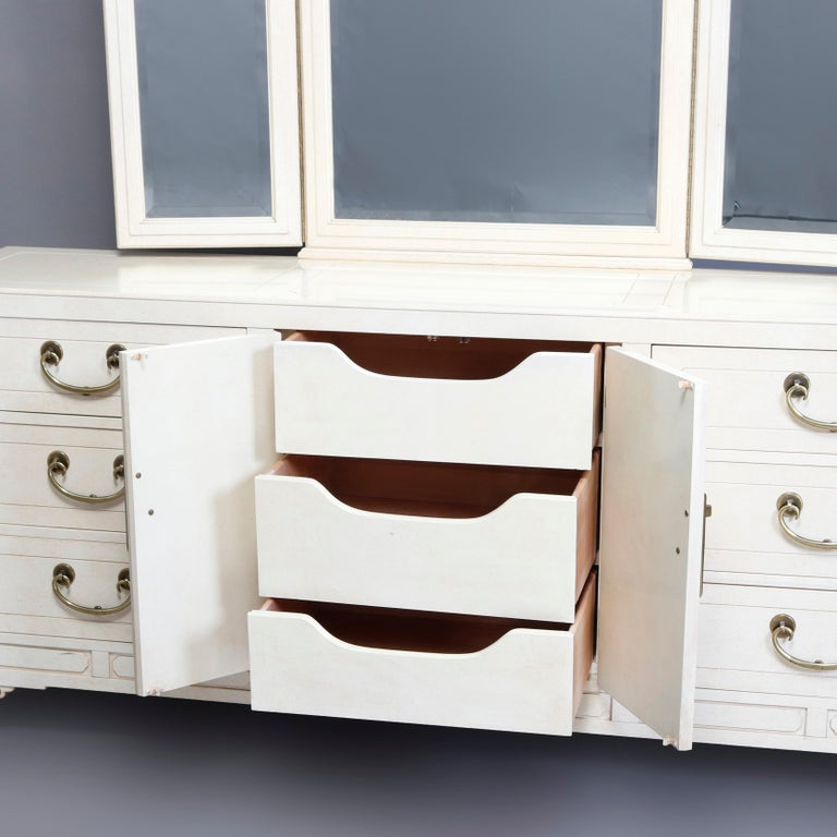American Mid-Century Modern Chinese Chippendale Ivory & Brass Mirrored Dresser For Sale