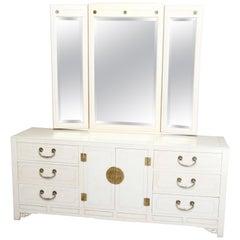 Mid-Century Modern Chinese Chippendale Ivory & Brass Mirrored Dresser