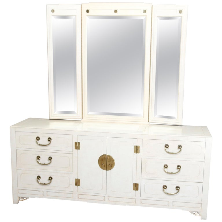 Mid-Century Modern Chinese Chippendale Ivory & Brass Mirrored Dresser For Sale
