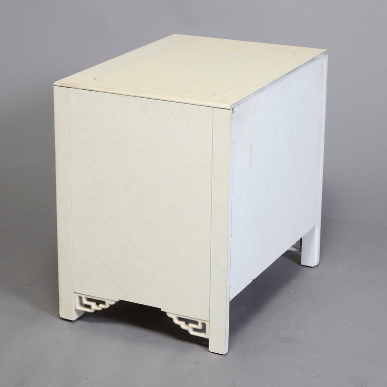 Mid-Century Modern Chinese Chippendale Ivory and Brass Wardrobe, circa 1970 In Good Condition For Sale In Big Flats, NY