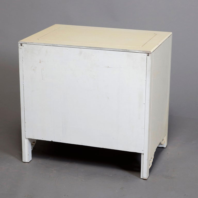 20th Century Mid-Century Modern Chinese Chippendale Ivory and Brass Wardrobe, circa 1970 For Sale