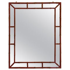 Mid-Century Modern Chinese Chippendale Red Painted Faux Bamboo Mirror