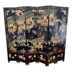 Mid-Century Modern Chinoiserie 8-Panel Expandable Coromandel Screen Divider