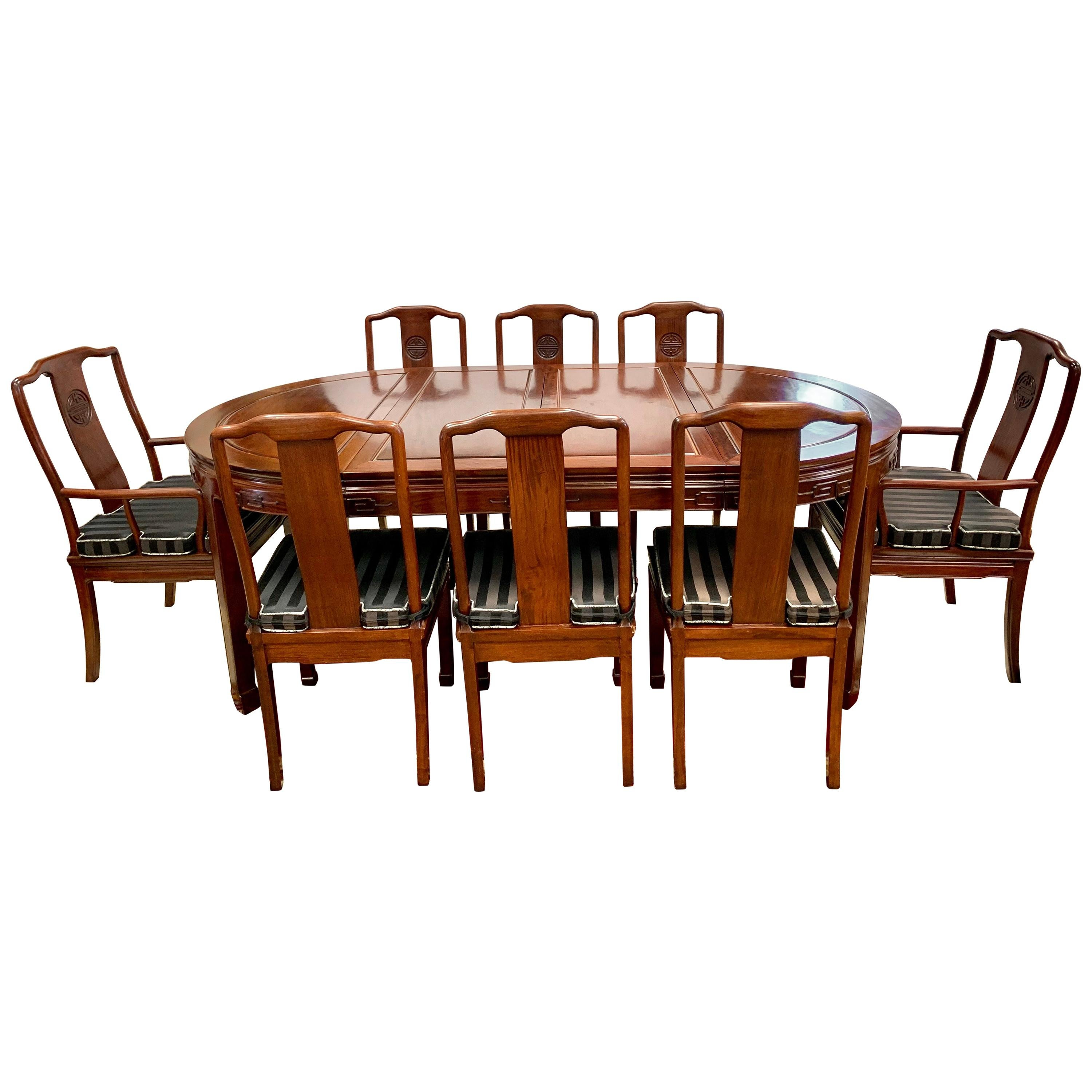 Asian Chinoiserie Rosewood Dining Set Table and Eight Chairs