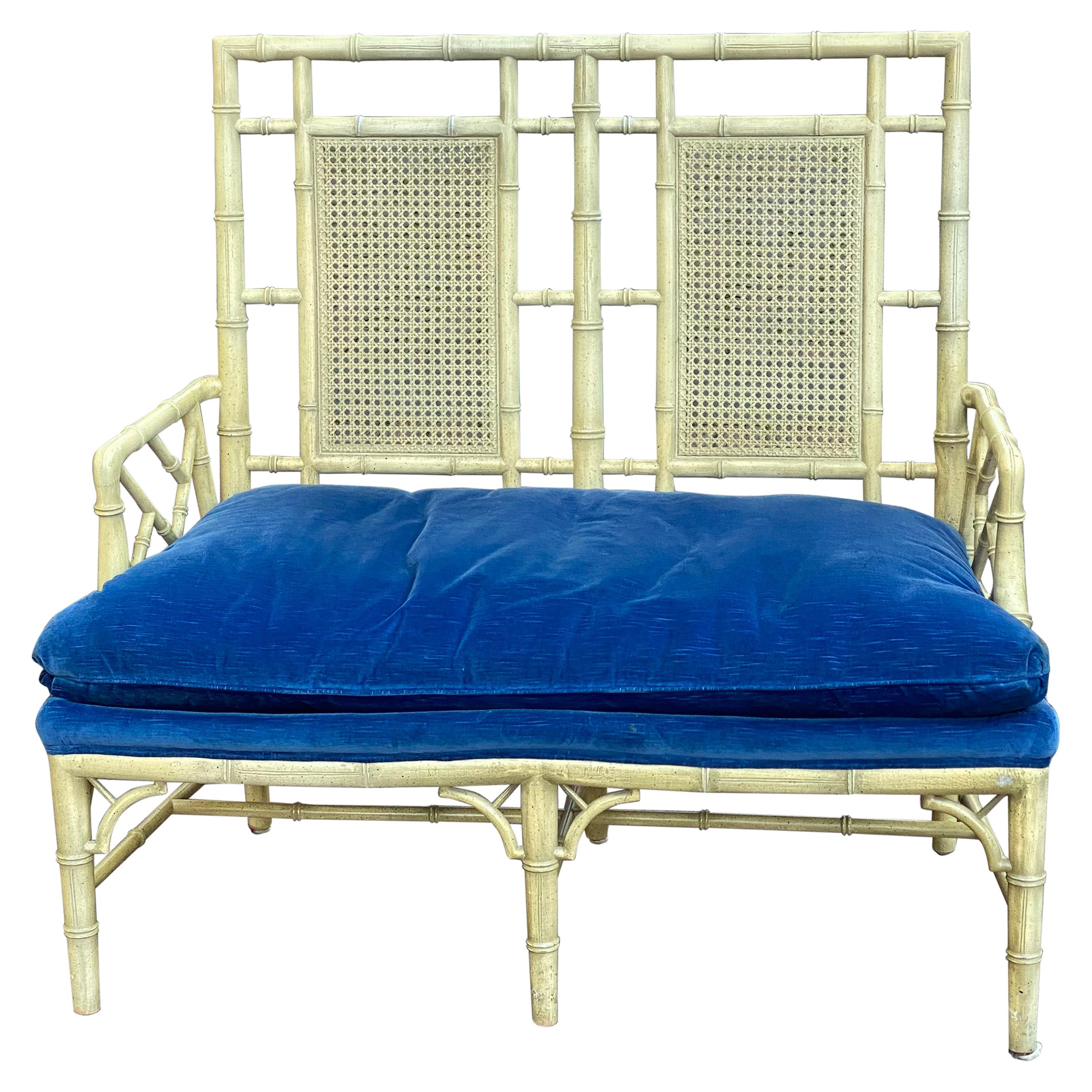 Mid-Century Modern Chippendale Faux Bamboo Settee with Velvet Seat Cushion