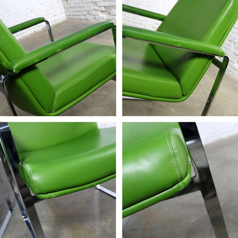 Mid-Century Modern Chromcraft Flat Bar Chrome Chairs One Blue One Green Vinyl For Sale 6