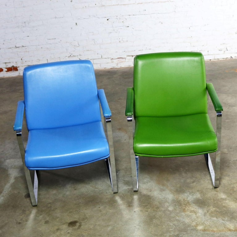 Faux Leather Mid-Century Modern Chromcraft Flat Bar Chrome Chairs One Blue One Green Vinyl For Sale