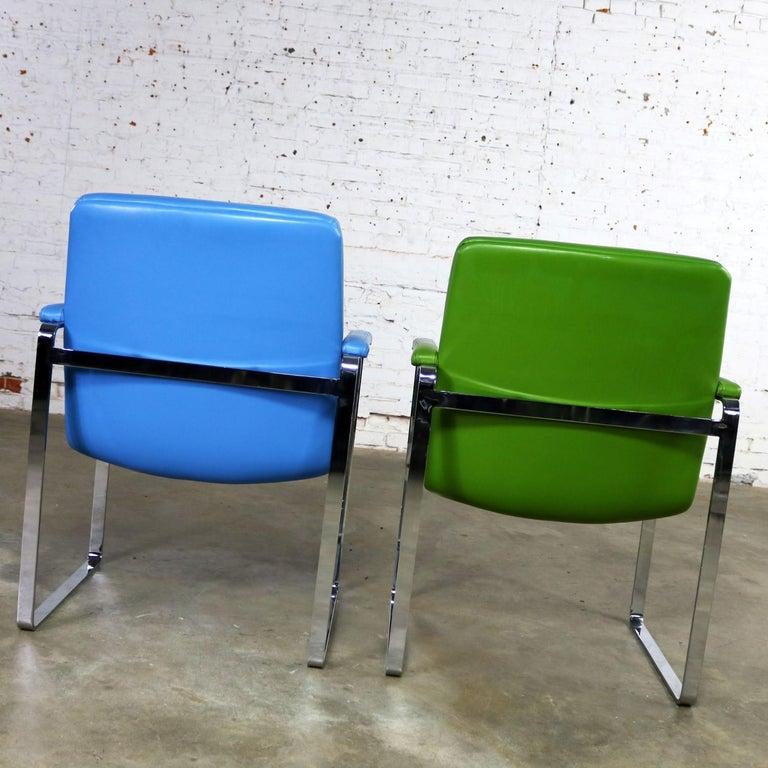 Mid-Century Modern Chromcraft Flat Bar Chrome Chairs One Blue One Green Vinyl For Sale 1