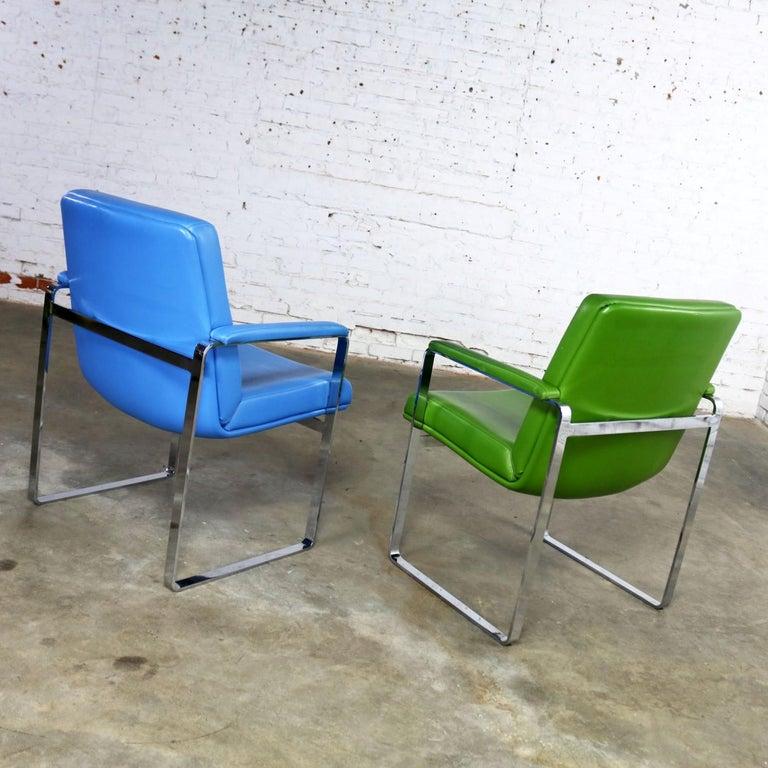 Mid-Century Modern Chromcraft Flat Bar Chrome Chairs One Blue One Green Vinyl For Sale 2