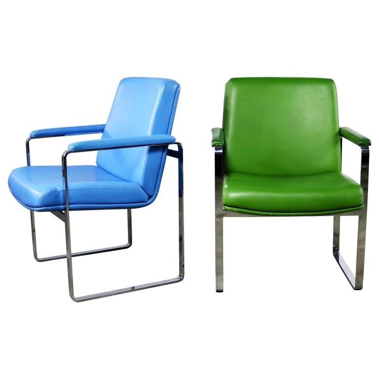 Mid-Century Modern Chromcraft Flat Bar Chrome Chairs One Blue One Green Vinyl For Sale