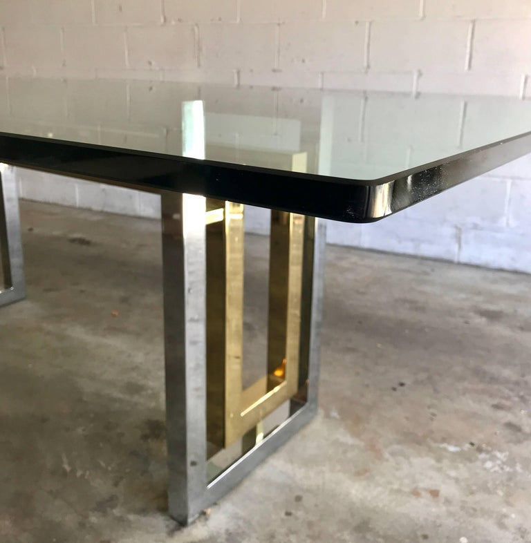 Italian Mid-Century Modern Chrome and Brass Dining Table by Renato Zevi, Italy, 1970s For Sale