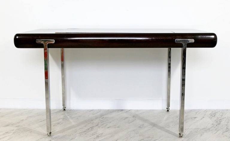 North American Mid-Century Modern Chrome and Wood Desk Backgammon Game Table 1970s Pace Brueton For Sale