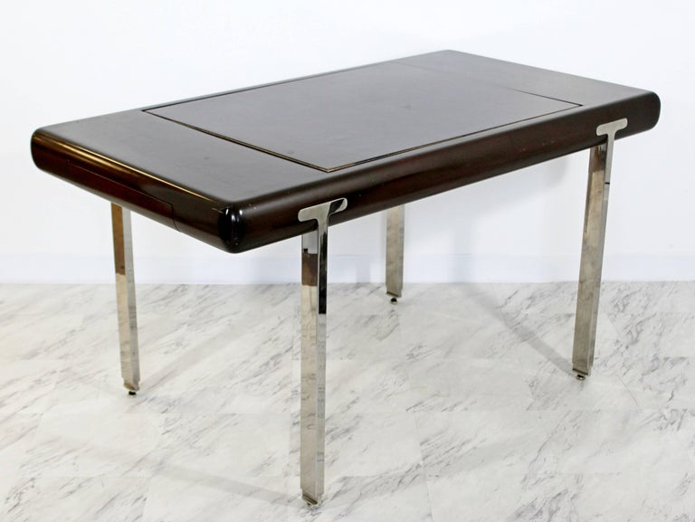Late 20th Century Mid-Century Modern Chrome and Wood Desk Backgammon Game Table 1970s Pace Brueton For Sale