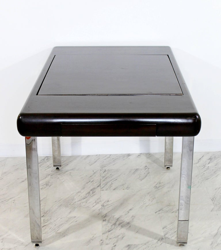 Mid-Century Modern Chrome and Wood Desk Backgammon Game Table 1970s Pace Brueton For Sale 1