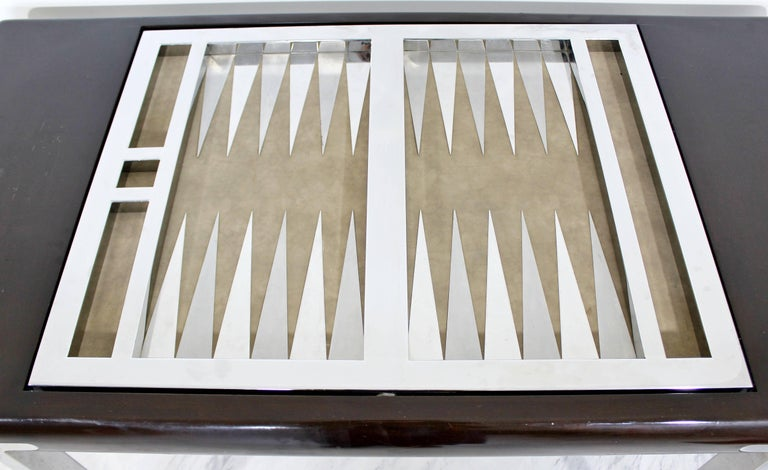 Mid-Century Modern Chrome and Wood Desk Backgammon Game Table 1970s Pace Brueton For Sale 2