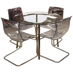Mid-Century Modern Chrome Acrylic Dinette Set 4 Side Chairs Glass Top Table