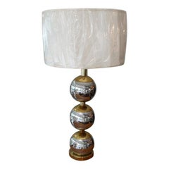 Mid-Century Modern Chrome and Brass Ball Table Lamp Paul Evans Style