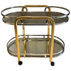Mid-Century Modern Chrome and Brass Bar Cart, French, circa 1950