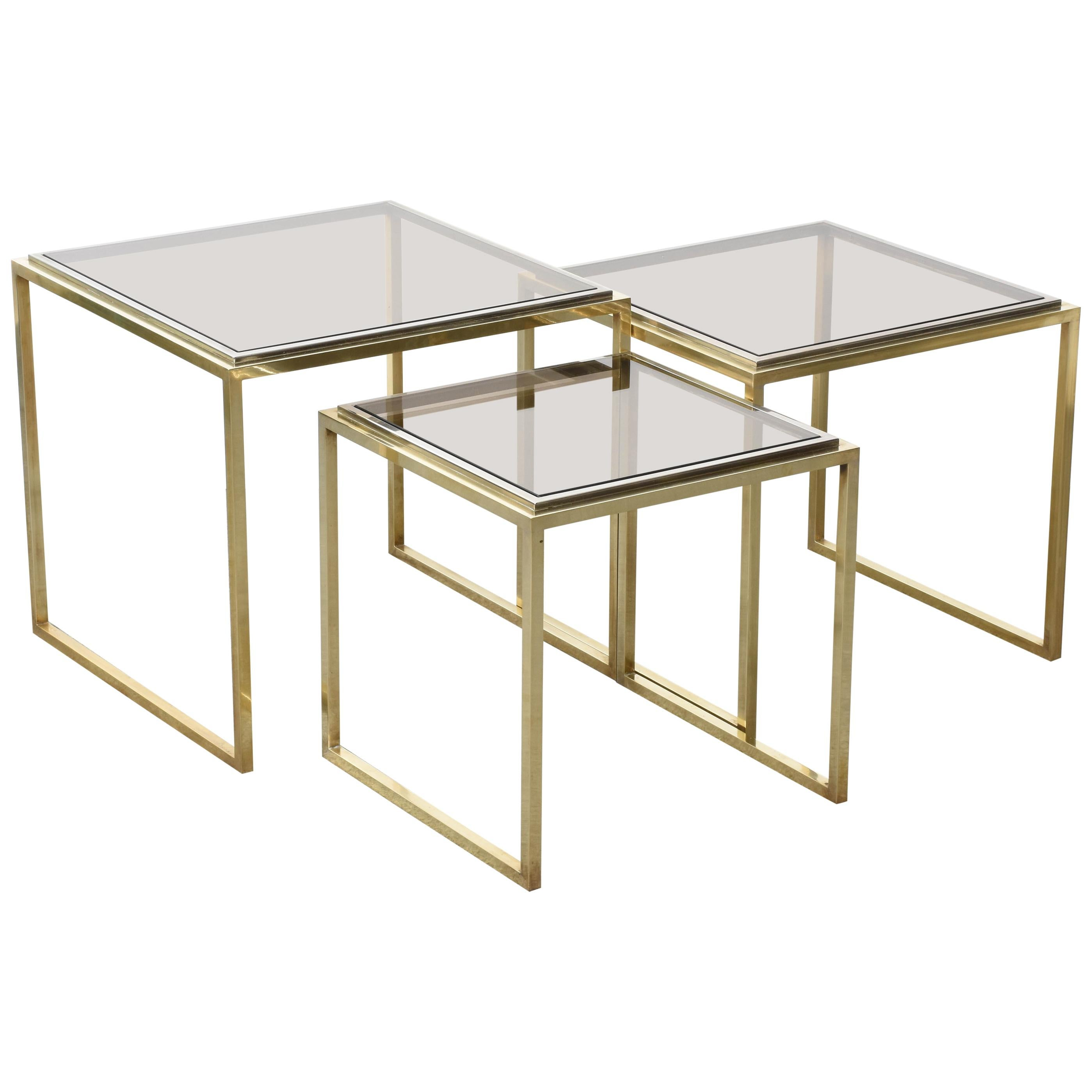 Mid-Century Modern Chrome and Brass Smoked Glass Italian Nesting Tables, 1970s