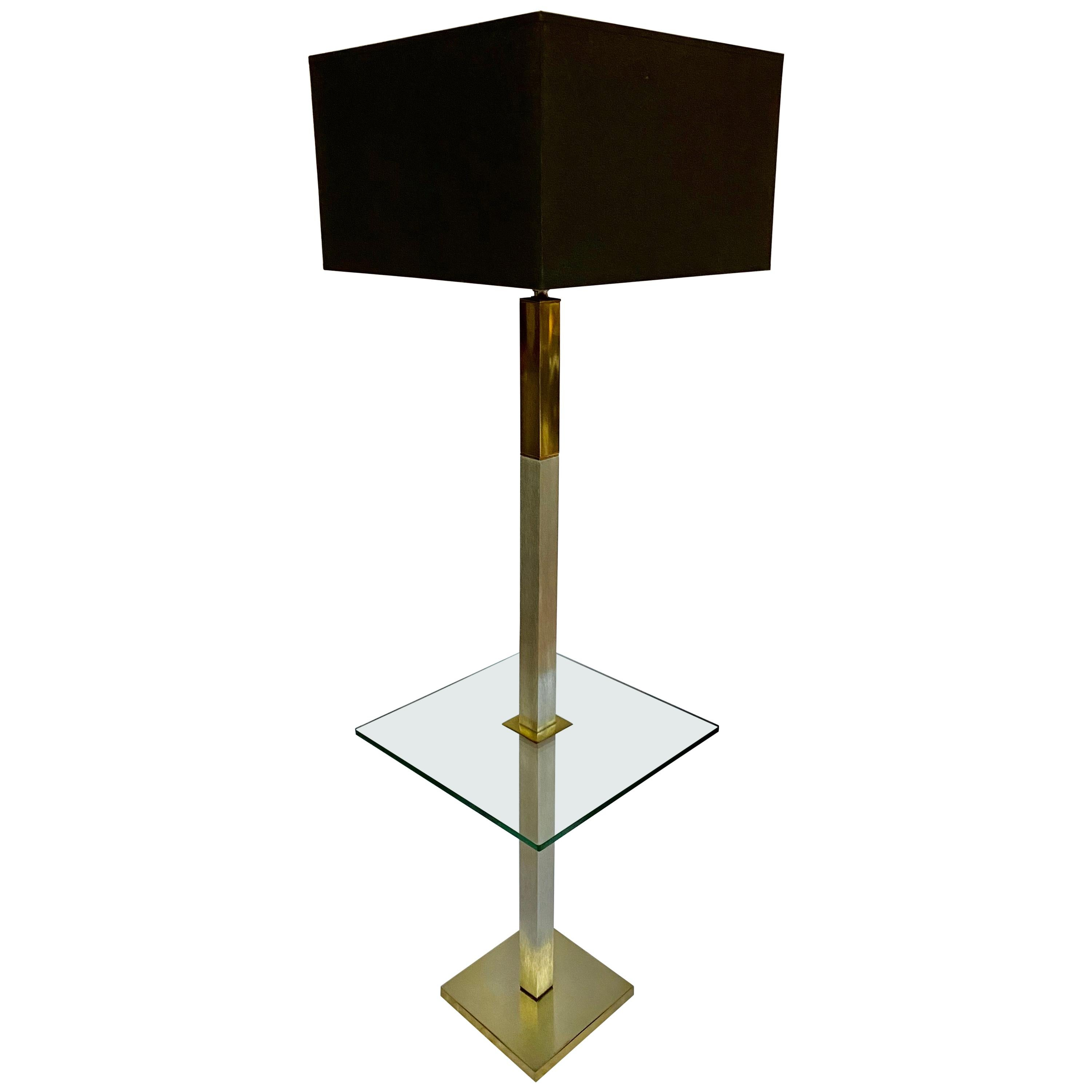 Mid-Century Modern Chrome and Brass Square Glass Side Table Floor Lamp