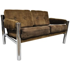 Mid-Century Modern Chrome and Brown Corduroy Loveseat Sofa by James David Inc