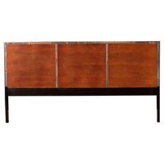 Mid-Century Modern Chrome and Ebonized Wood King Headboard Bed Frame