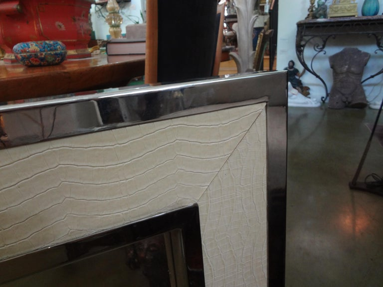 Mid-Century Modern Milo Baughman Style Chrome and Faux Alligator Mirror In Good Condition For Sale In Houston, TX