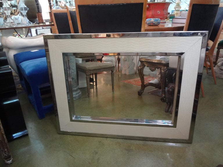 Late 20th Century Mid-Century Modern Milo Baughman Style Chrome and Faux Alligator Mirror For Sale