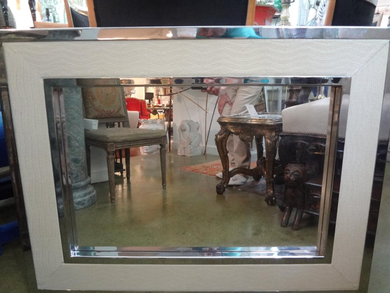 Mid-Century Modern Milo Baughman Style Chrome and Faux Alligator Mirror For Sale 4