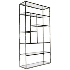 Mid-Century Modern Chrome and Glass Etagere or Display Shelving Unit