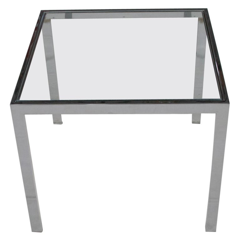Mid-Century Modern Chrome and Glass Parsons End or Side Table after Baughman For Sale