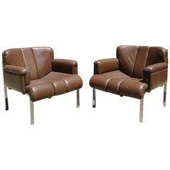 Mid-Century Modern Chrome and Leather Armchairs