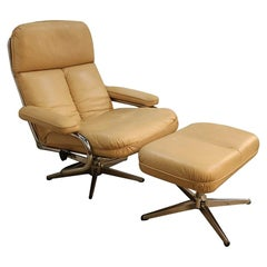 Mid-Century Modern Chrome and Leather Recliner Chair and Ottoman Set