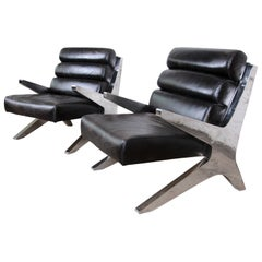 Mid-Century Modern Chrome and Leather Scissor Form Lounge Chairs, Pair