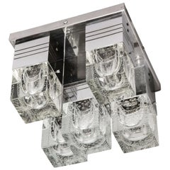 Mid-Century Modern Chrome and Murano Glass 5-Light Flushmount by Sciolari