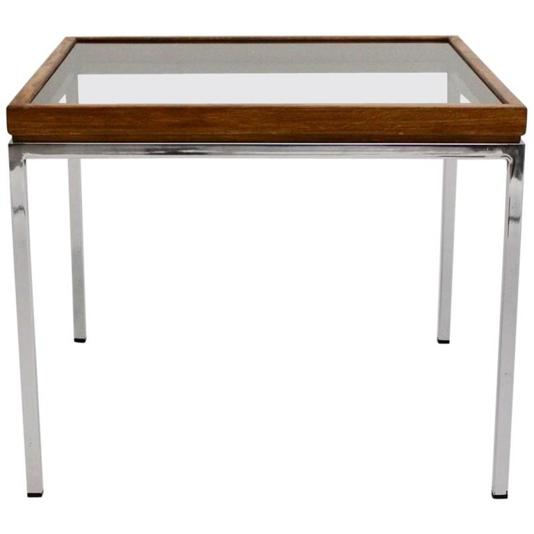 Mid Century Modern Vintage Chrome And Oak Square Coffee Table