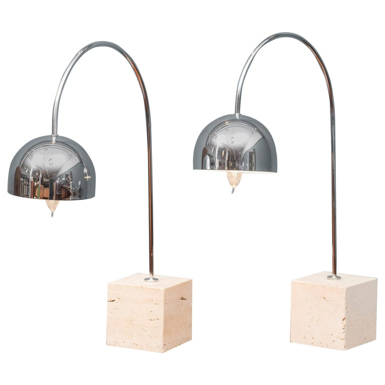 Mid-Century Modern Chrome and Travertine Arc Table Lamp by Harvey Guzzini, Italy For Sale