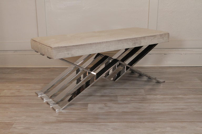"""Mid-Century Modern chrome and upholstered Zig zag bench   Dimensions: 44"""" W x 18"""" D x 18"""" H."""