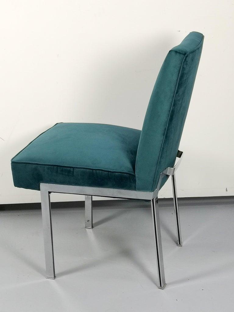Mid-Century Modern Chrome and Velvet Chais, Set of 5 For Sale 3
