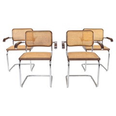 Mid-Century Modern Chrome and Walnut Cesca Chairs by Marcel Breuer, Italy, 1970s