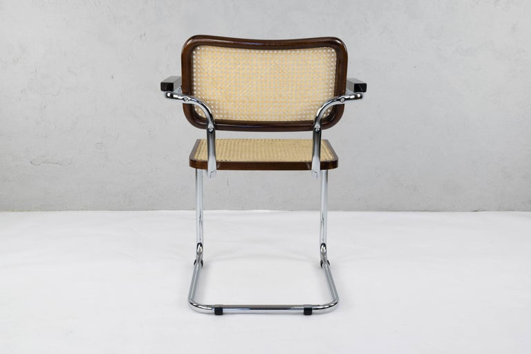 Mid-Century Modern Chrome and Walnut Cesca Chairs by Marcel Breuer, Italy, 1970s 4