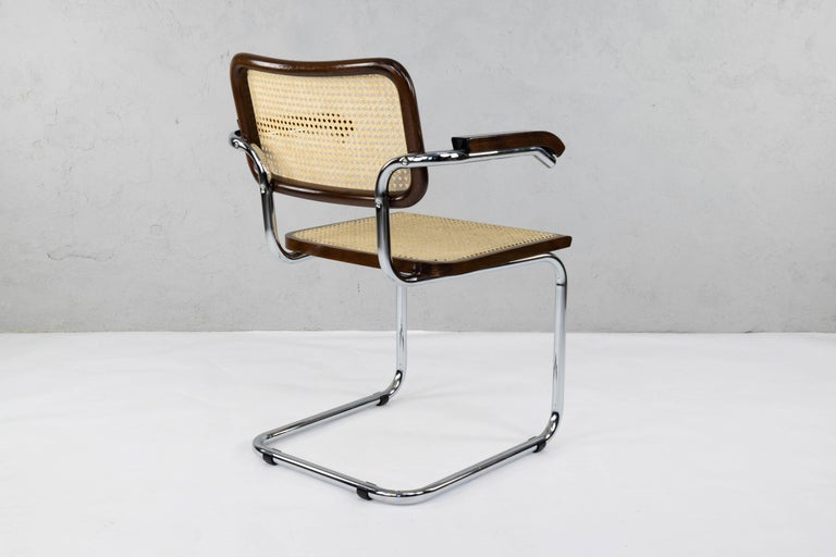 Mid-Century Modern Chrome and Walnut Cesca Chairs by Marcel Breuer, Italy, 1970s 5