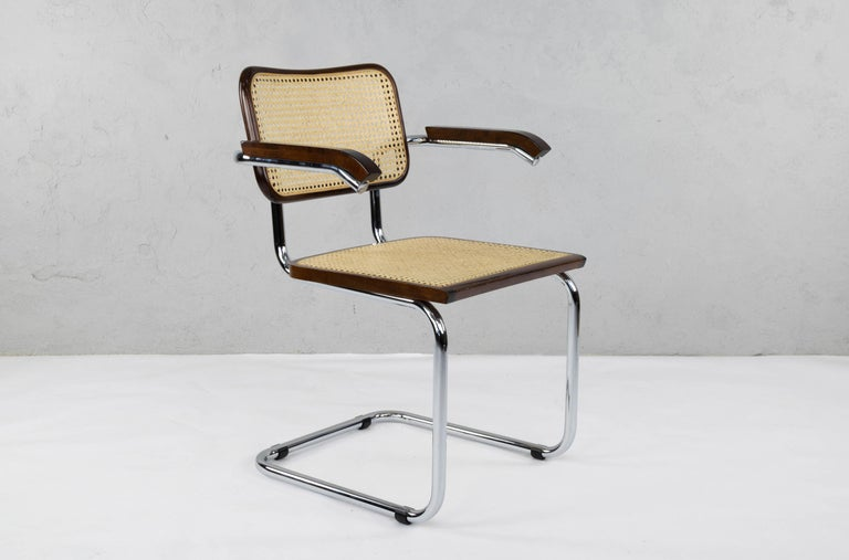 Mid-Century Modern Chrome and Walnut Cesca Chairs by Marcel Breuer, Italy, 1970s 7