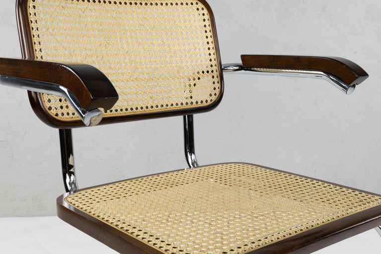 Mid-Century Modern Chrome and Walnut Cesca Chairs by Marcel Breuer, Italy, 1970s 8