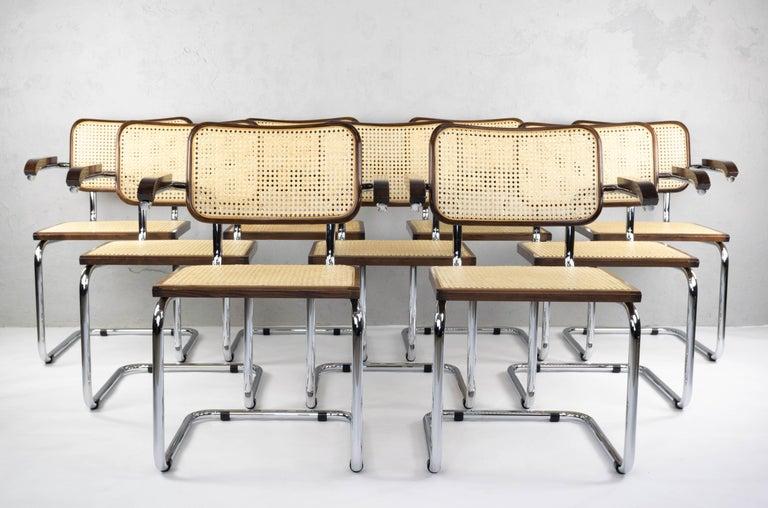 Italian Mid-Century Modern Chrome and Walnut Cesca Chairs by Marcel Breuer, Italy, 1970s