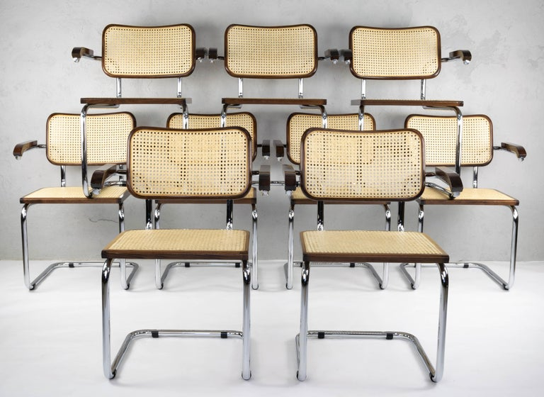 Mid-Century Modern Chrome and Walnut Cesca Chairs by Marcel Breuer, Italy, 1970s In Good Condition In Algatocín, Malaga Andalucia