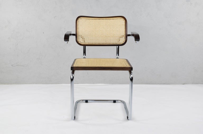 Steel Mid-Century Modern Chrome and Walnut Cesca Chairs by Marcel Breuer, Italy, 1970s