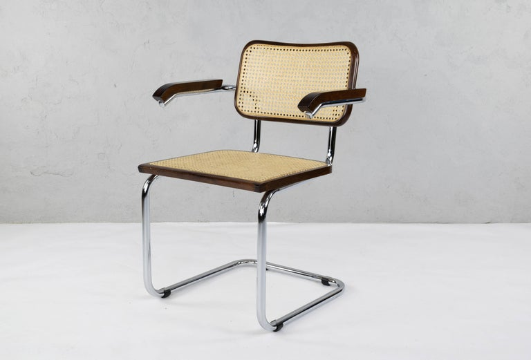 Mid-Century Modern Chrome and Walnut Cesca Chairs by Marcel Breuer, Italy, 1970s 1