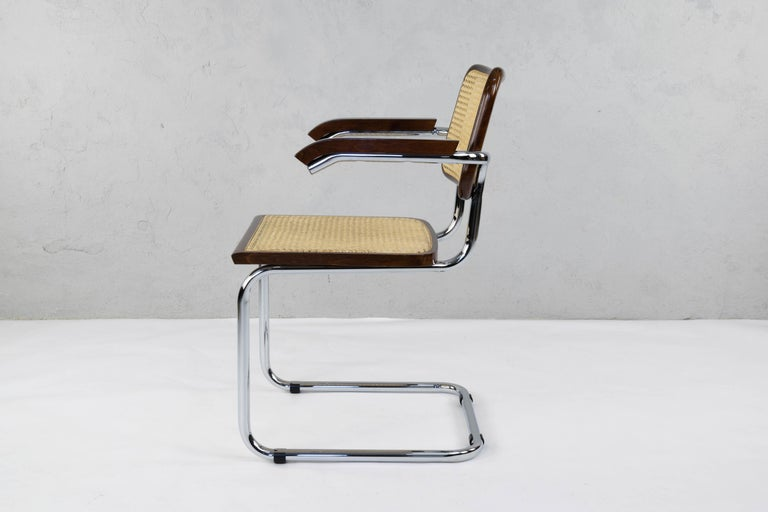 Mid-Century Modern Chrome and Walnut Cesca Chairs by Marcel Breuer, Italy, 1970s 2