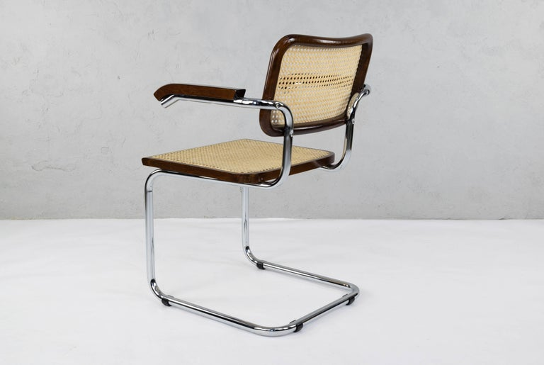 Mid-Century Modern Chrome and Walnut Cesca Chairs by Marcel Breuer, Italy, 1970s 3
